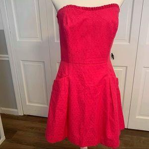 Lilly Pulitzer Hot Pink Strapless Sheath Dress 12